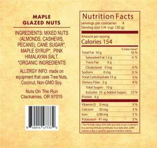 Maple Glazed Nuts Ingredients and Nutritional Facts